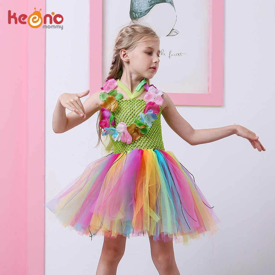 5861c1345c6c Girls Rainbow Luau Tutu Dress with Garland Necklace Set Hawaiian Grass Hula  Birthday Dress Kids Beach