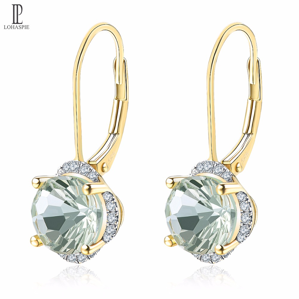 Natural Green Amethyst Gold Wedding Earrings Diamond Solid 14K Multi-faceted Fine Fashion Gemstone Jewelry For Gift Lohaspie New jewlery sets vintage solid 14k white gold green amethyst diamond earrings for women fine amethyst jewelry