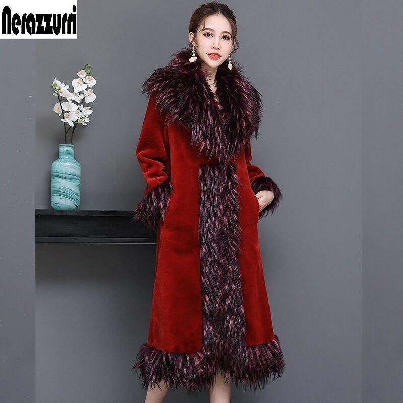 Taille Fausse Chili Fourrure Fox Oil Hiver Manteau La Plus 2018 Piste 5xl Femmes Nerazzurri Pardessus Luxe Col Furry Rouge De 6xl Avec Rzqvxnfwa