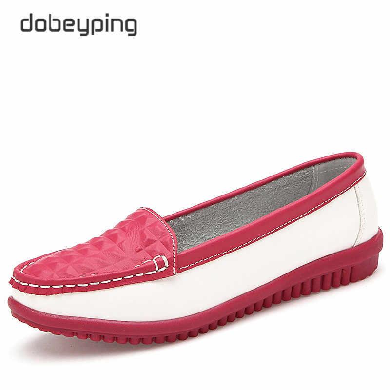 2017 yeni gündelik kadın ayakkabısı inek deri kadın Flats ayakkabı mokasen kadın loafer'lar tekne ayakkabı üzerinde kayma eğlence tek ayakkabı