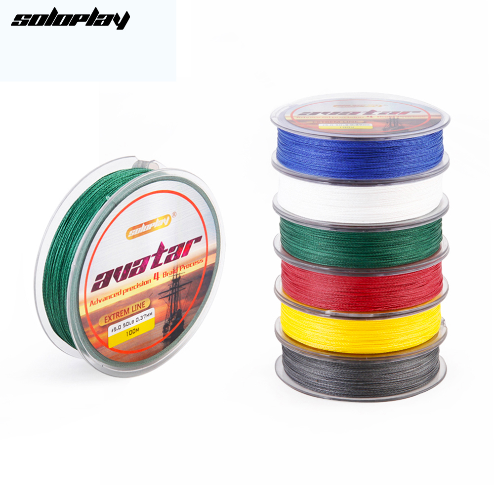 SoloPlay100m Super Strong Giapponese Multifilament PE intrecciato linea di pesca 12 20 30 40 50 60 80 BL