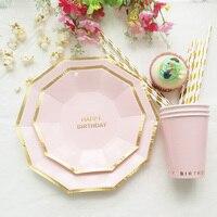 Pink Blue Happy 1st Birthday Tableware Set Plate Cup Straw Boy Girl Kid Birthday Supply Paper