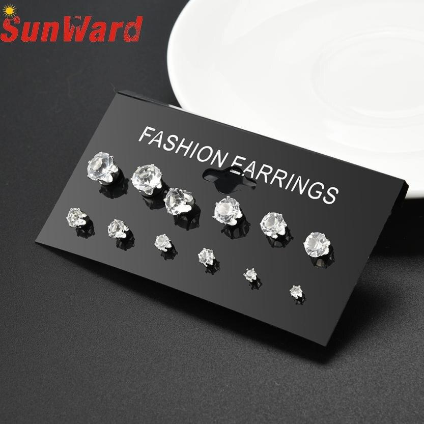 Stud earrings for women 6 Pair Fashion Women Jewelry Stud Earrings new Eight arrows of zircon 6 pair/set x Ear Stud db11 p30