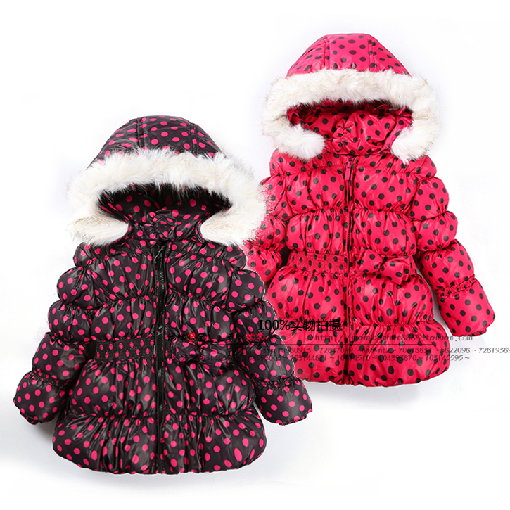 new 2014 autumn winter children outwear baby clothing kids jackets fashion girls Polka Dot down coat casual-jacket child parka недорого