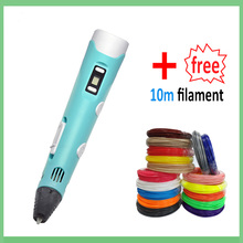 3D Printing Pen 1.75mm ABS PLA DIY LCD Screen,USB Charging 3D Pen Filament with 12V 2A Adapter Creative Toy Gift For Kids Design 1 75mm abs pla diy 3d printing pen led lcd screen 3d pen painting pen filament charger creative toy gift for kids design drawing