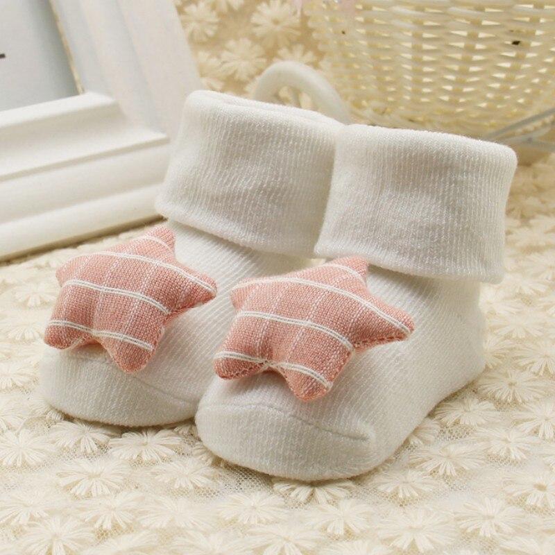 1 пара для новорожденных мальчиков и девочек мягкие носки звезда сердце любовь отложным воротником дети принцесса носки От 0 до 1 года