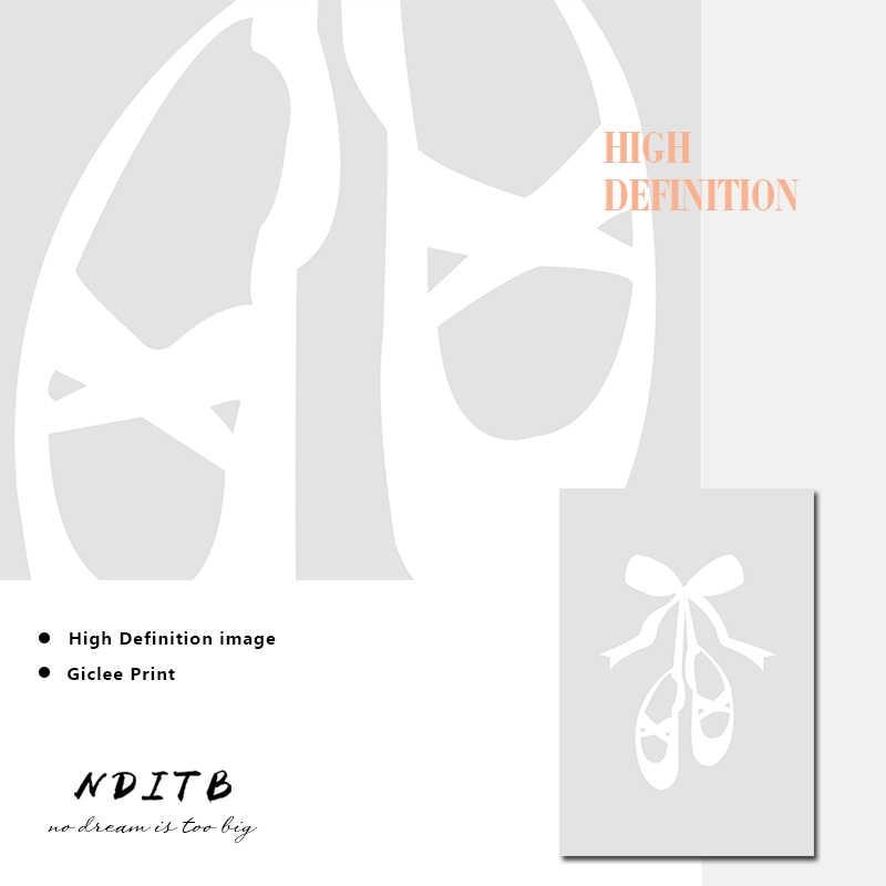 NDITB балетная танцовщица, настенные художественные Постеры-холсты, Детские принты, живопись, скандинавские украшения для детей, картина для маленькой девочки, декор для спальни