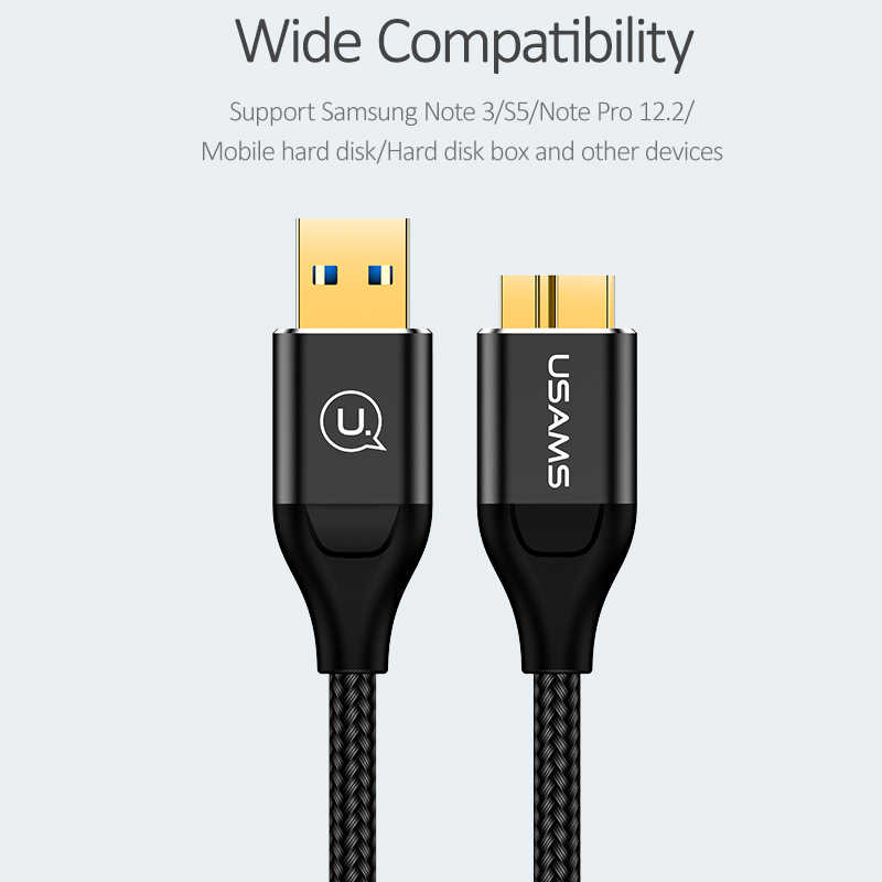 USAMS 5Gbps Micro USB 3.0 cable fast charging Type A to Micro B Data Cable for Samsung S5 Note 3 i9600 G900 Toshiba Hard Disk