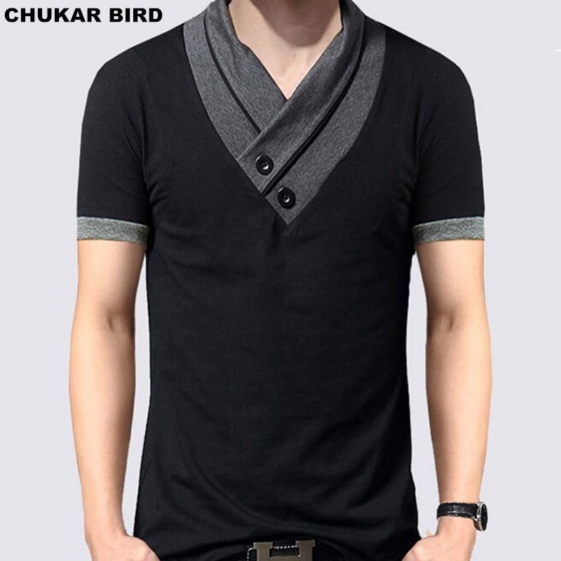 Cheap 17 Designs Mens T Shirt Slim Fit Crew Neck T Shirt: CHUKAR BIRD New 2017 Fashion Mens Short Sleeve Slim Fit V