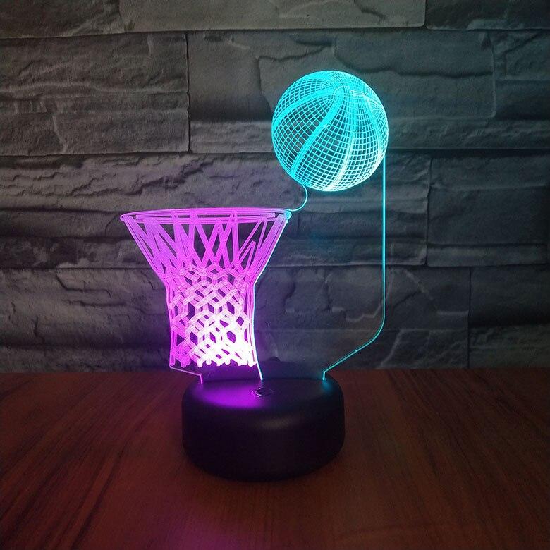 Sports Basketball Multicolor 3d Lamp Bedside Room Decoration Battery-powered Lamp Kids Children's Led Night Light Sensor Decor