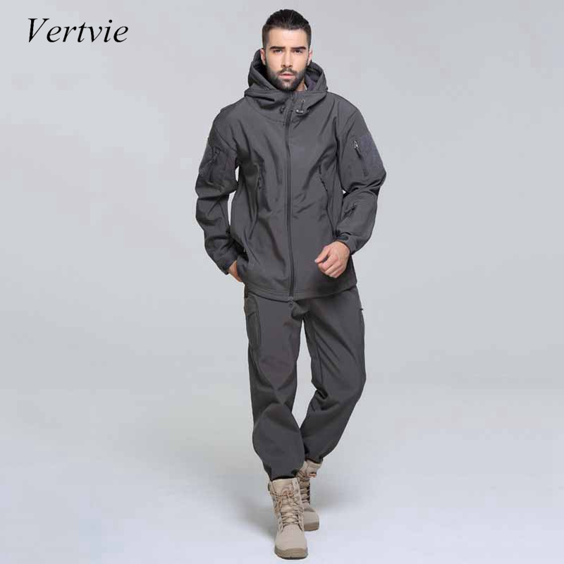 vertvie Man Winter Thicken Waterproof Fishing Camping Trekking Fleece SoftShell Outdoor Jacket Pant Set Sport Hiking Trouser 2XL