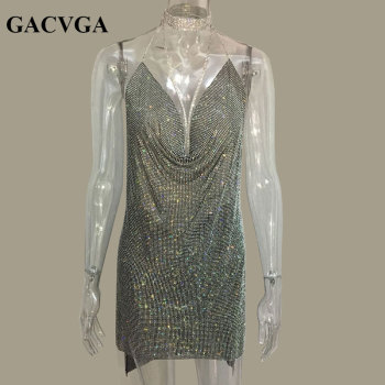 6fb873d8401a5 GACVGA 2019 Crystal Metal Halter Shining Summer Dress Women Beach Dress  Sequin Mini Sexy Party