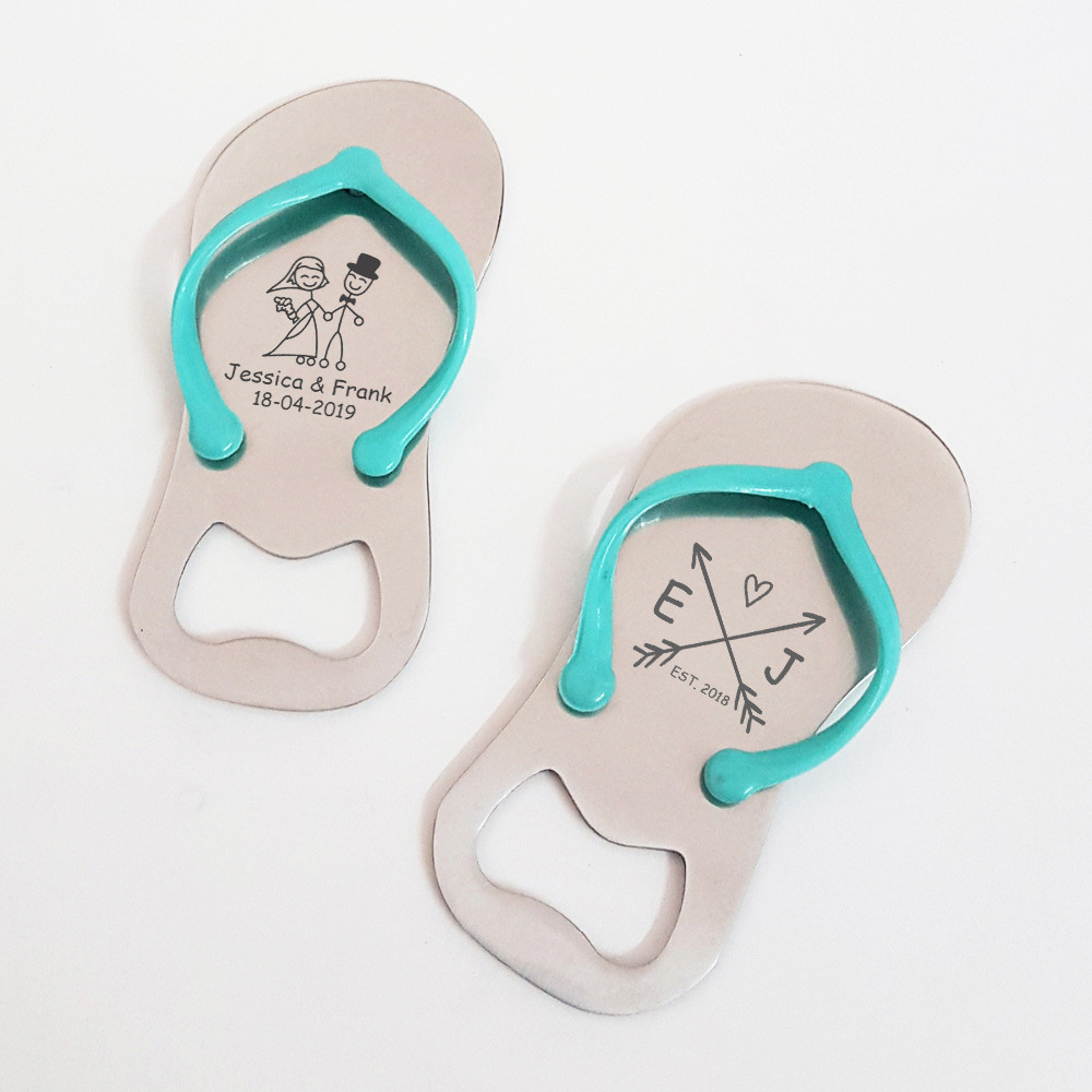 4ec7e7c810a2 Beach Wedding Party Souvenir Custom Bride   Groom Personalized Wedding Day  Favor Flip Flop Shaped Bottle Opener with Box 100pcs-in Party Favors from  Home ...