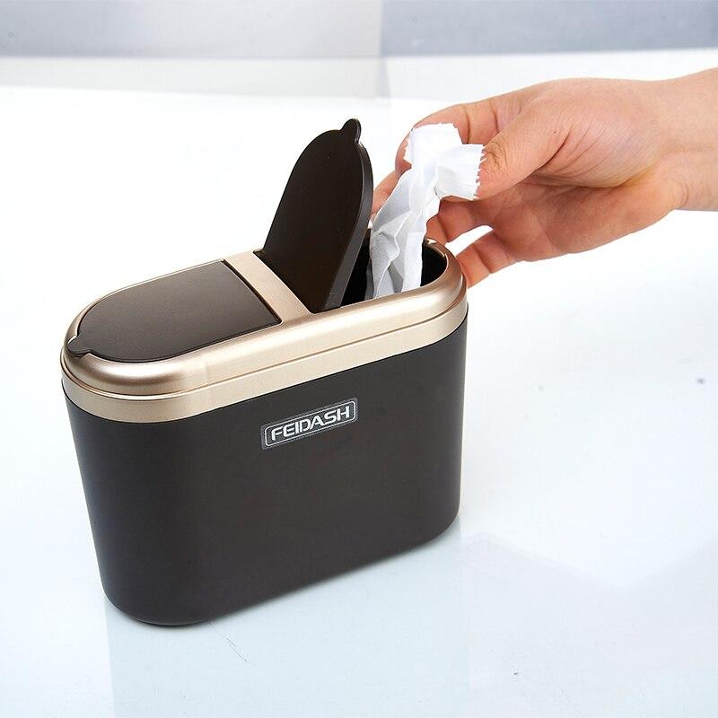 Portable Car Trash Bin Storage Bucket Trash Can Silver