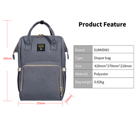 SUNVENO Fashion Mummy Maternity Diaper Bag Large Nursing Bag Travel Backpack Designer Stroller Baby Bag Baby Care Nappy Backpack Islamabad