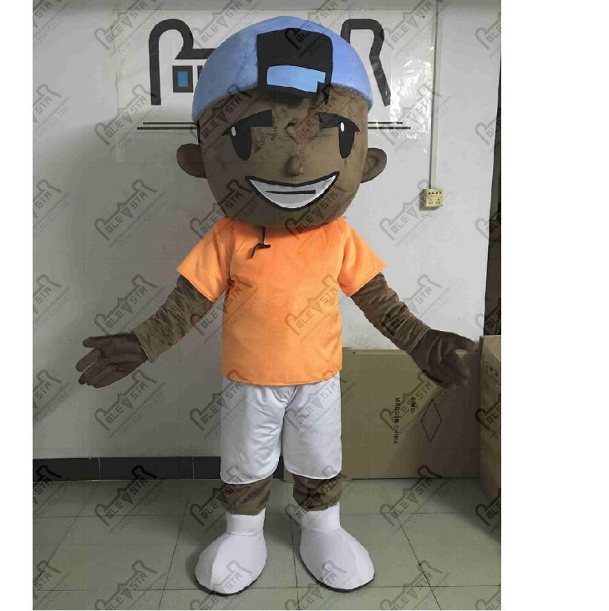 Peau brune garçon mascotte costumes visage heureux enfants costumes prince mascotte costumes