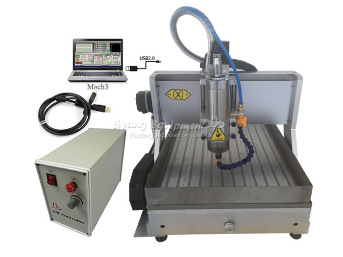 1500W 3axis Mini Cnc Milling Machine 3040 USB Port With Water Tank Metal Engraving And Cutter Collet Clamp Vise Drilling Kits