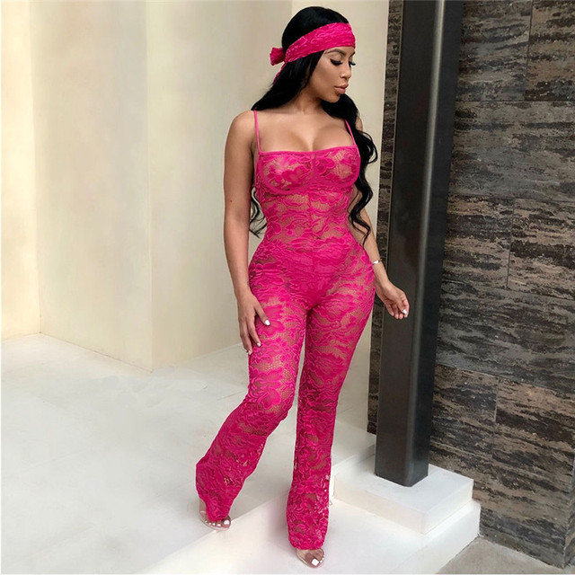 Lace Jumpsuit New Fashion Rompers Womens Jumpsuits Clubwear Playsuit Hollow Out Party Chiffon Outweaer Clothes 2