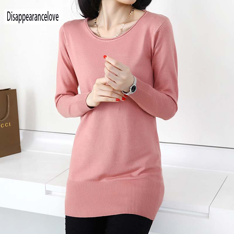 2019 Pink Knitted Pullover Cashmere Sweater Women Sexy Elastic Long Sleeve Knitting Pullover Casual Autumn Jumper Pullover