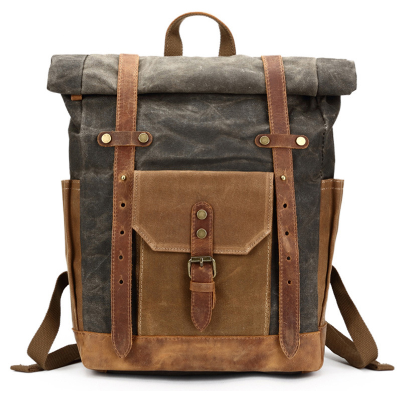 Fashion Retro Men Genuine Leather Backpack School Bags Travel Canvas Laptop Back Pack Bagpack for Teenager china famous brand vintage men women backpack school bags embroidery waterproof laptop back pack student bagpack for teenager