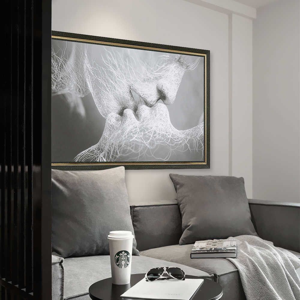 Fashion Romantic Black & White Love Kiss Abstract Art on Canvas Painting Frameless Wall Art Picture Poster Print Home Decor