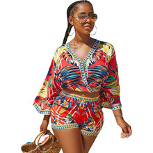 Bohemian Floral Print Beach Two Piece Set Women 2018 Summer Sexy Crop Top and Shorts Suit Casual Beach Wear Matching Set Outfit недорого