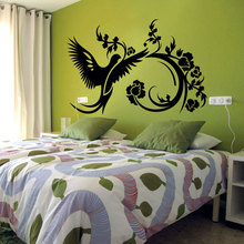 Beautiful Bird Flower Swirl Wall Decal Vinyl Bedroom Home Decoration Interior Removable Art Mural Floral Stickers DIYSYY546