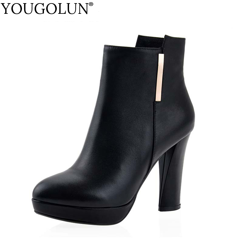 YOUGOLUN Women Ankle Boots Spring Autumn Genuine Leather Thick Heel 10.5 cm High Heels Black Platform Round toe Shoes #V-151 new spring autumn women boots black high heels thick heel boots lace up platform ankle boots large size 34 43