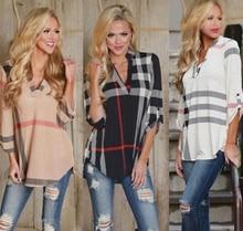 Women V-Neck Three Quarter Sleeve Plaid Print Blouse Shirt  Women Blouses Tops