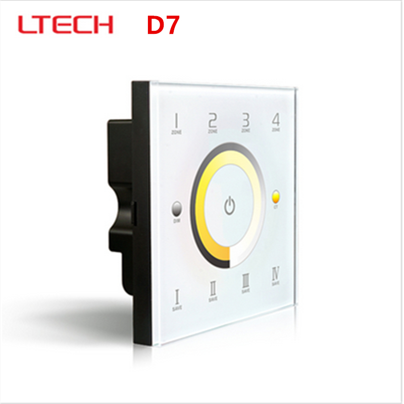 LTECH D7 DC12-24V Touch Panel Wall Mount CCT Color Temeprature Adustable LED Controller DMX512 Output 4-Zones for Dual White dc12 24v d5 touch panel brightness adustable dimmer controller wall mount 4zones control dmx512 output for single color strip