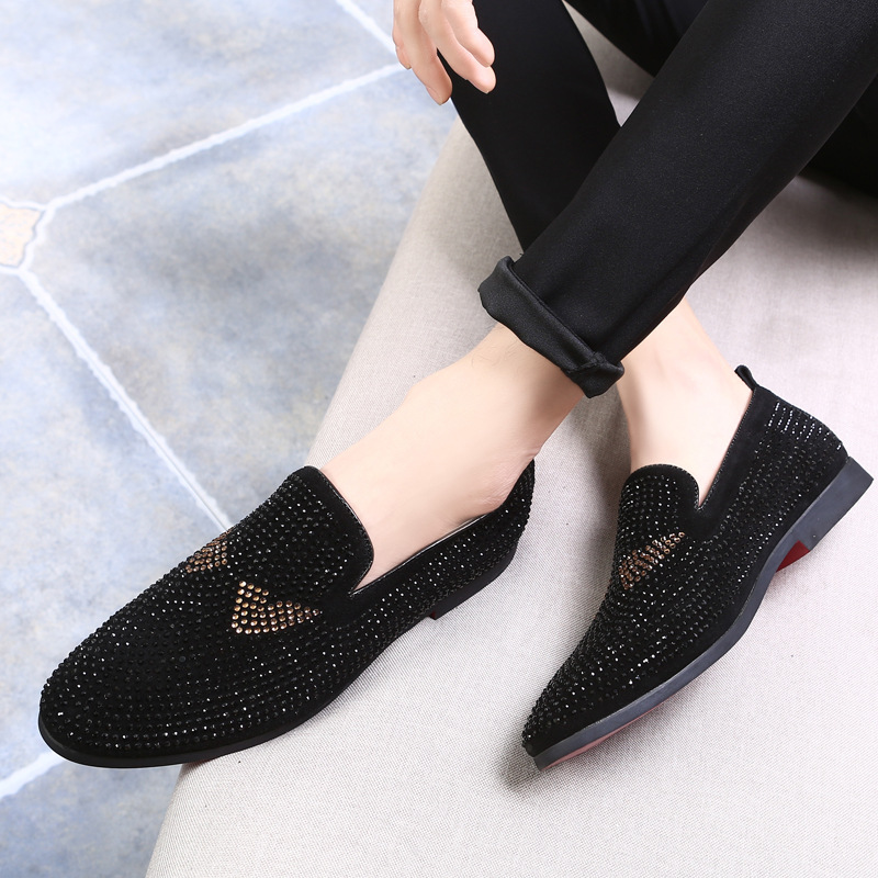 Brand Men loafers Silver Black Diamond Rhinestones Spiked Loafers Rivets shoes Red Bottom Wedding Party Shoes