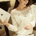 Vancol 2016 новых Blusas свободного покроя о длинным рукавом крючком блузки элегантный Большой размер женщины выдалбливают кружева рубашки вершины