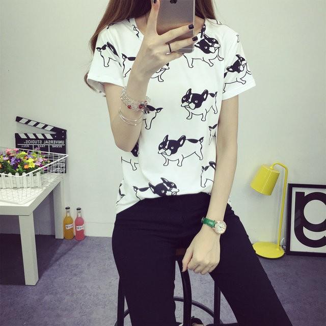 HTB1Z5C7JFXXXXX0XpXXq6xXFXXXi - 2016 casual fashion brand women summer style Tops women's Tshirts French Bulldog T Shirts camisetas femininas poleras de mujer