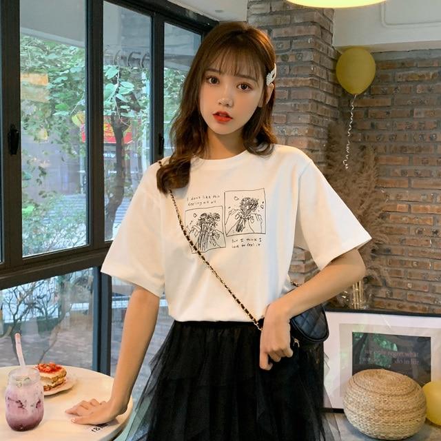 Bts ulzzang harajuku camisa roupas de verão coreano mulheres 2019 moda tshirt doce carta de impressão da flor do vintage camisa branca de t mulheres