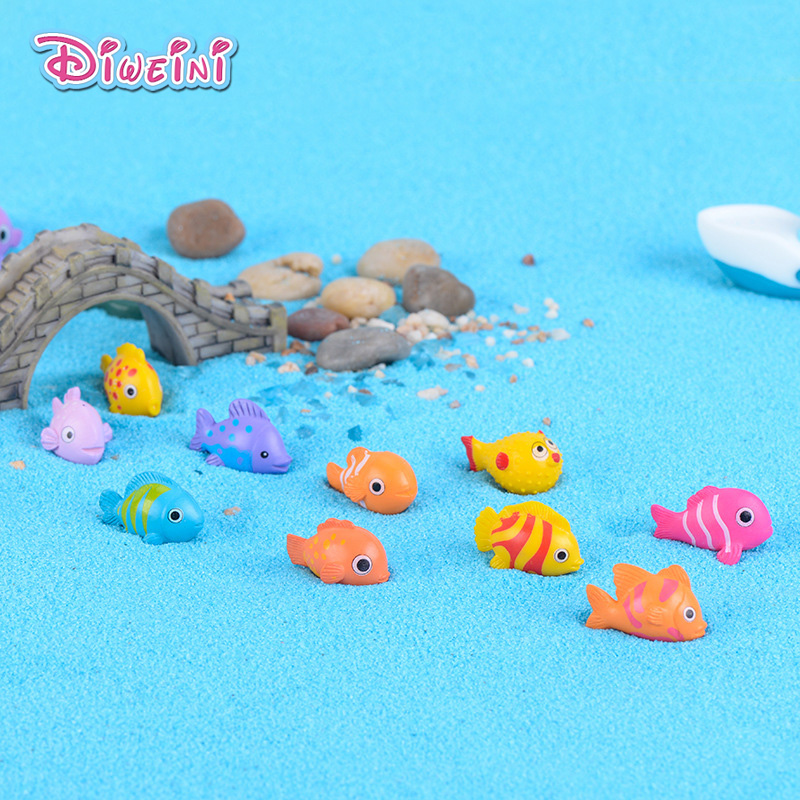 5pcs Cartoon Mini Fish Model Animal Action Figures Miniature Figurine Home Garden Dollhouse Decoration DIY Accessory Toy Gift