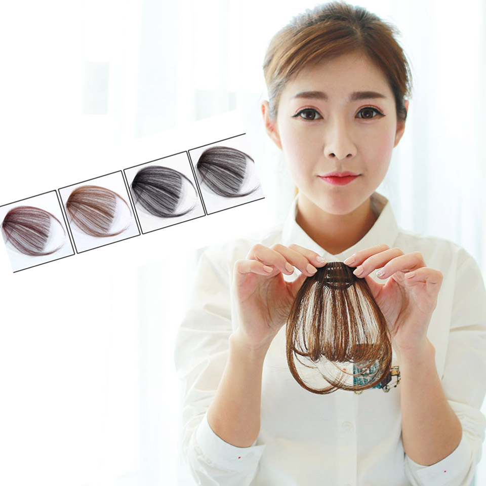 Fake Bangs Clip Hairpiece Black Brown Blonde Synthetic Bangs Hair Extensions For Women DIFEI