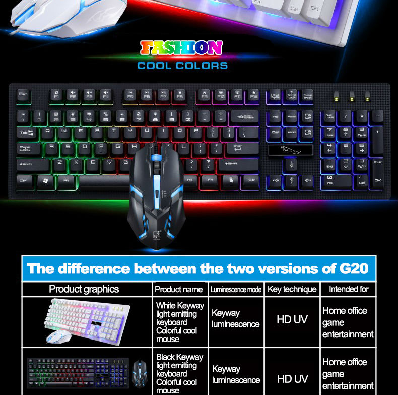 CHENTAOCS G20 Wired USB Backlit Computer Keyboard Color : Black Illuminated Game Floating Keyboard High Cost Performance Products