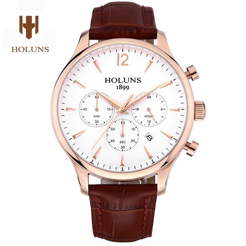 Luxury HOLUNS watch men sapphire material Genuine leather strap waterproof date Chronograph Quartz wrist watch relogio masculine seiko watch premier series sapphire chronograph quartz men s watch snde23p1