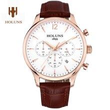 HOLUNS reloj hombres de lujo material de zafiro correa de cuero Genuino impermeable fecha Cronógrafo de Cuarzo reloj de pulsera relogio masculino