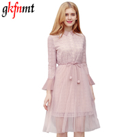 Pink Lace Dres Vintage Crochet Sweet Dress Women High Wait 3/4 Sleeve Sashes Layered Dotted Dresses Sexy Lace Up Summer Dress