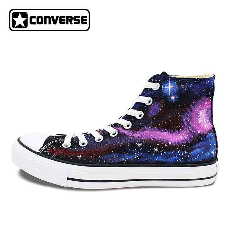 Purple Galaxy Converse Chuck Taylor Man Woman Original Design Hand Painted Canvas Sneakers Men Women  Birthday Gifts wen original design colorful lamp bulb hand painted shoes black slip on canvas sneakers for man woman s gifts presents