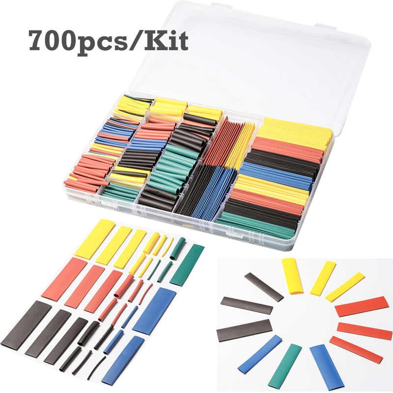 New 700Pcs 8Sizes Shrinkable Tubes Set Assortment Heat Shrink Tubing Shrinkage Ratio 2:1 Wrap Wire Cable Sleeving Tube Kit