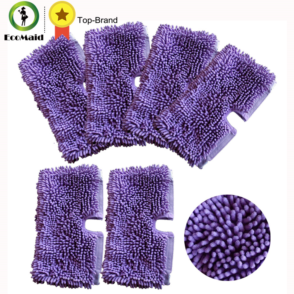 6pcs Purple Microfiber Cleaning Mop Pads For Shark Floor