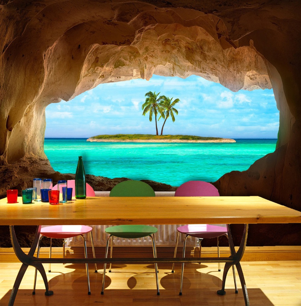 [Self-Adhesive] 3D Tropical Coconut Tree Cave 038 Wall Paper Mural Wall Print Decal Wall Murals