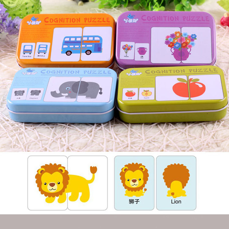 Kids Montessori Toys Puzzle Card Game Early Educational Toy Animal Graph Match Montessori Materials Wood Puzzle Toy For Children