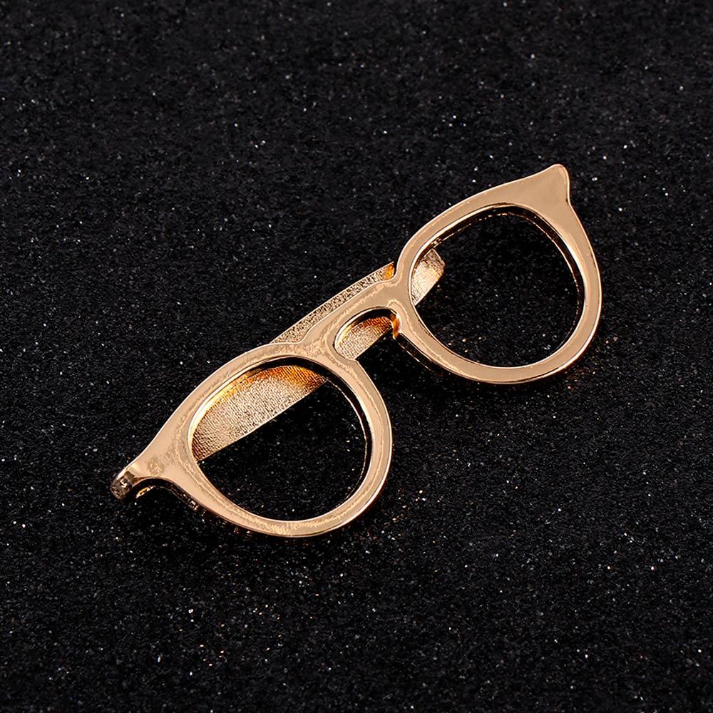 Business Alloy Gold Glasses Shape Tie Clip Men Suits Necktie Tie Bar Clasp Pin