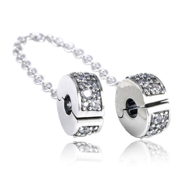42dd0d50b4bba US $11.56 35% OFF|Rose Gold & Silver Shining Elegance Safety Chain Charms  With Clip Fit Pandora Charm Bead 925 Sterling Silver Bracelets Original-in  ...