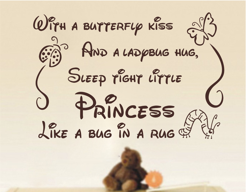 wall sticker quotes Butterfly Kiss Ladybug Hug Quote Art