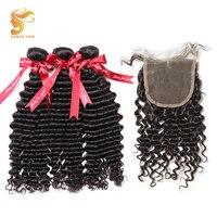 AOSUN Волосы Бразильские глубокие волны пучки с закрытием натуральные 4 шт./лот человеческие волосы плетение пучков с закрытием remy волосы расш