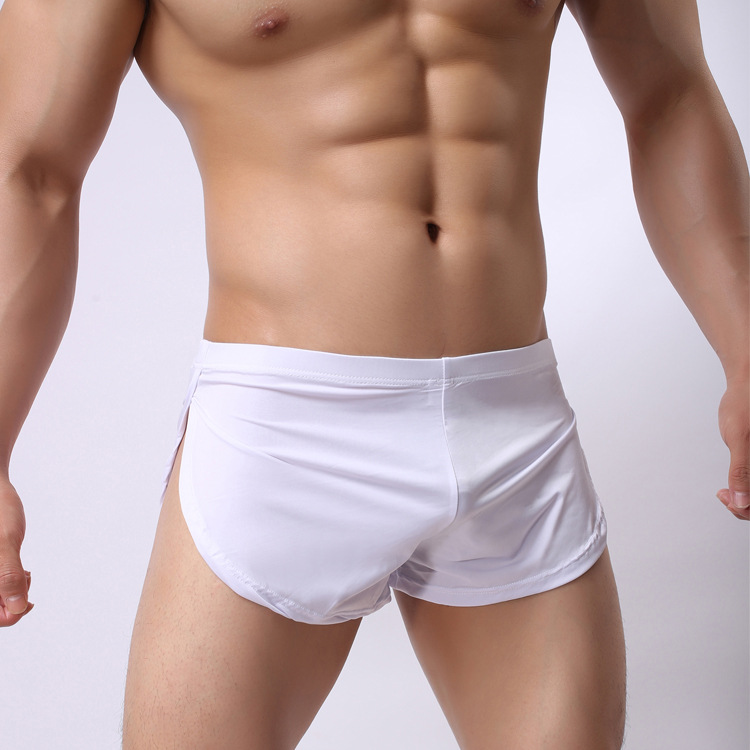 SORRYNAM  Men Low Waist Solid Sleep Bottoms Sexy Mens Split Home Leisure Short Ice Silk Man Comfortable Sleepwear